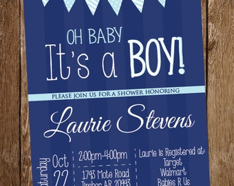 Boy Navy Blue Baby Shower Invitation - Oh, Baby It's a Boy