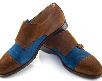 Women Handmade Double Monk Strap in Brown and Blue Suede - Cinnamon and Ocean Blue Suede