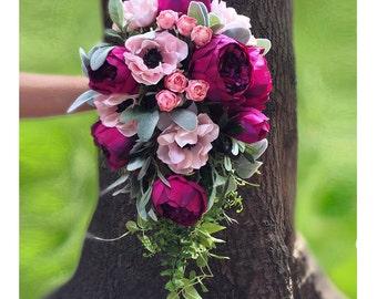 Pink Cascading Bouquet, Peony Wedding Bouquet, Fuchsia Bridal Bouquet, Pink Wedding Bouquet, Silk Bridal Bouquet