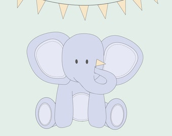 Elephant with Flags Nursery Print