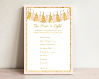 Pink & Gold Price is Right Game, Tassels Baby shower games, Baby price is right, Baby shower activities, The price is right, Tas-1