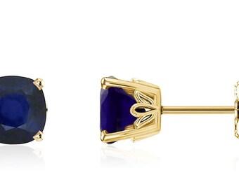 14K Sapphire Stud Earrings - 14K Yellow Gold Cushion-Cut Genuine Blue Sapphire Gemstone Earrings - 5x5mm Square - September Birthstone