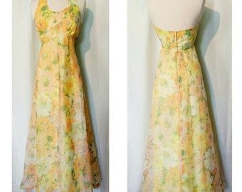 CLEARANCE! 60s Yellow Floral Formal Halter Dress!