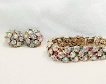 Vintage Rhinestone Bracelet and Earring Set with Multi Colored Stones