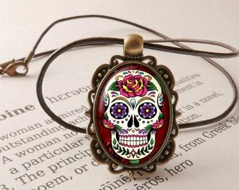 Day of the Dead Pendant Necklace - Sugar Skull Pendant, Dia de Muertos, Calavera, All Souls Day, Sugar Skull Necklace, Day of the Dead Gift