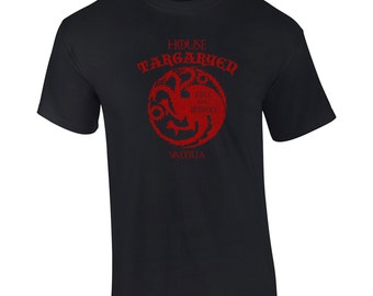 House Targaryen funny fantasy dragon game king thrones fire and blood college party vintage retro - Apparel Clothing - Mens T-shirt - 084