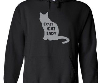 Crazy Cat Lady funny domestic cat lover pet rights animal justice college party retro - Apparel Clothing - Hoodie - Hooded Sweatshirt - 500