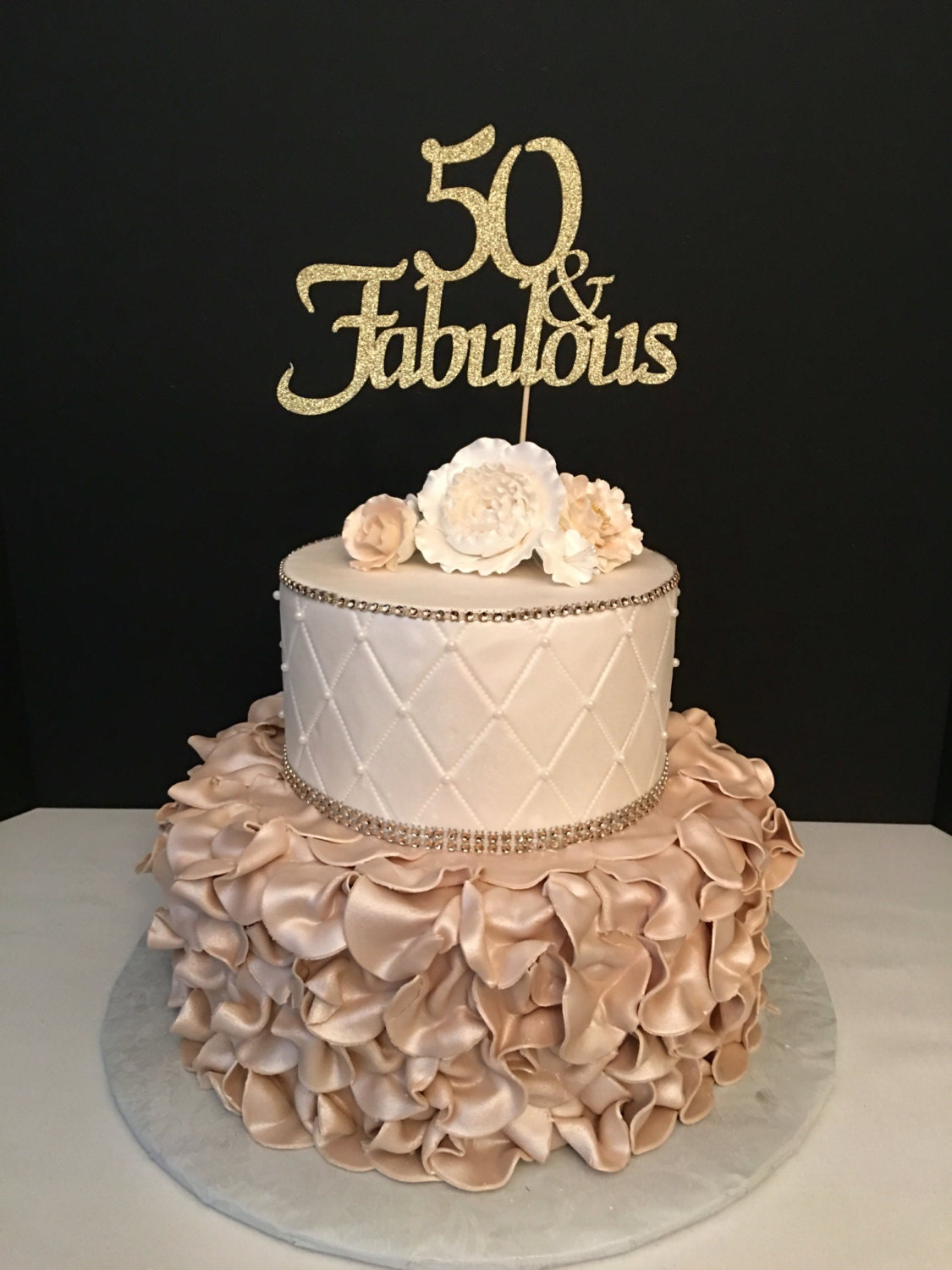 Any Number Gold Glitter 50th Birthday Cake Topper 50 And
