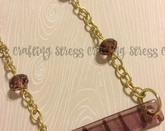 Glass Bar Necklace with Plum Colored Accent Beads