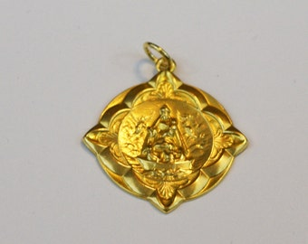 Our Lady of Charity 14K Yellow Gold Medallion,