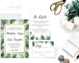 Printable Wedding Invitation Suite / Wedding Invite Set - The Madeline Tropical Suite