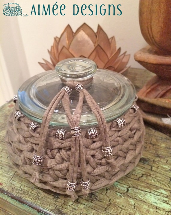 I love taupe - crochet bowl - taupe with silver beads -  basket -  T-Shirt yarn - fabric yarn - glass jar - flower vase - mud sand color