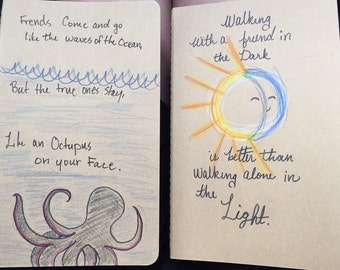 Creative Quote Journal Notebook - Unique Handmade Personalized.  A Perfect Gift for Friends or Yourself.  Moleskine Cahiers Collection.
