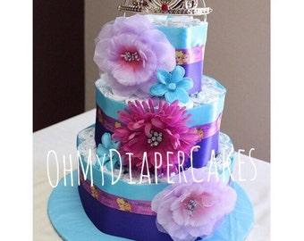 Customizable Frozen Diaper Cake, Tiara Diaper Cake, Princess Diaper Cake, Frozen Baby Shower, Princess Baby Shower, Tiara Baby Shower