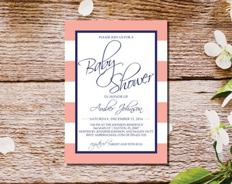 Baby Shower Invitations | Girl Baby Shower Invite | Baby Shower Invites | Peach White Navy Shower Invitation | Kate Spade Stripes | Nautical