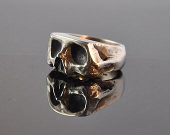 Oxidised Sliced Skull Silver Ring