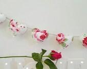 Hand Made Shabby Chic 7 Heart fabric Garland Bunting Cath Kidston Ikea Rosali White Floral
