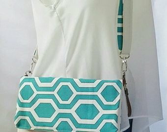 Turquoise Teal Geometric Brown Crossbody Bag, Brown Faux Leather, Crossbody Purse, Clutch, Wristlet, Shoulder Bag, Handbag, Birthday Gift