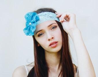 Flower Headband / Blue Lace Headband / Womens Headbands / Turquoise Bridesmaid Hair Accessories / Teen Girl Gifts / Blue Headband
