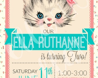 Vintage floral Kitty Cat Kitten party invitation DIGITAL FILE