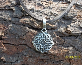 Leather Pewter Tribal Necklace