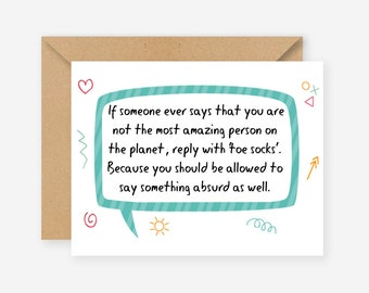 The most amazing person on the planet, greeting cards, funny cards, blank cards, recycled cards, cute, quirky, love, friend, birthday