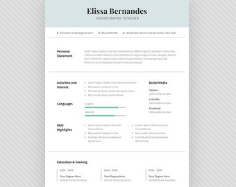 "Resume Template / CV Template + Cover Letter for MS Word and Photoshop | Instant Digital Download - ""Dove"""