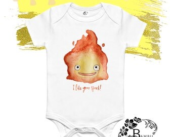 I LIKE YOUR SPARK  / Howls Moving Castle Outfit / Calcifer Shirt /Newborn Baby / Hayao Miyazaki / Babies First Crawler / Baby Shower Present