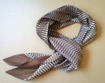 VINTAGE PLEATED SCARF /Light Brown scarf / Fashion / Accessory / Gift / Wrap around