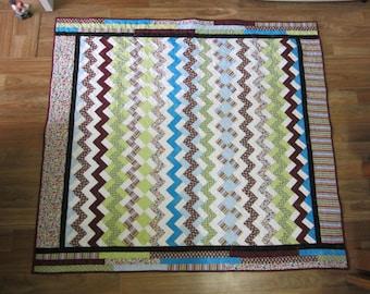 Bright handmade quilt, modern quilt, colourful fabrics