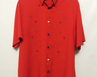 Vintage Red Triangle Pattern Shirt