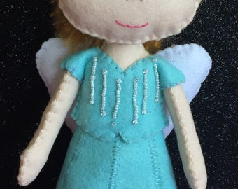 Handmade Light Blue Merino Felt Wool Angel with Silk Angora Blend Blonde Hair