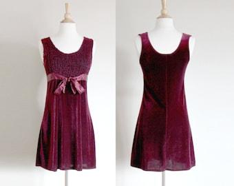 1990s Grunge Velvet Dress | Velvet Babydoll | Crushed Velvet Dress | Grunge Dress | Merlot Dress | Small
