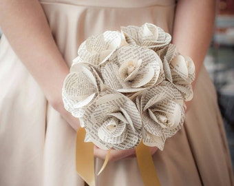 Handmade Book Paper Rose Bridesmaid Bouquet - Weddings