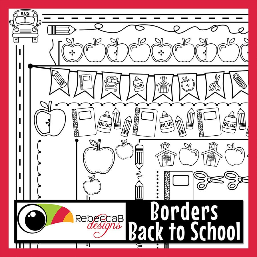 Back to School Clipart, Back to School Borders, Doodle ...