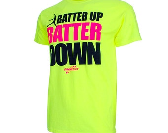 Batter up Batter Down Softball Short Sleeve T-Shirt, Softball Fastpitch Shirt, Softball Gift - Free Shipping!