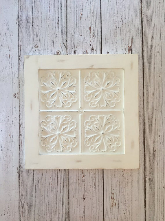 Rustic french wall decor : Framed ceiling tin wall decor rustic hanging
