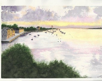 Original Watercolor Painting - Sunset at a Harbor