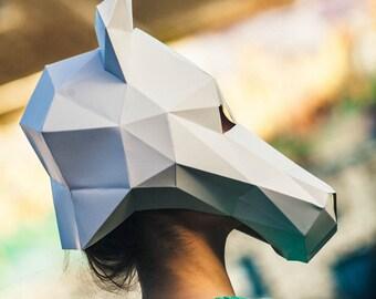 Paper Horse Mask, Papercraft Template, Printable Mask, DIY instant download
