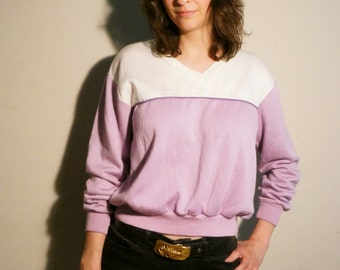 Vintage 1980's Pink and White Lightweight Sweatshirt