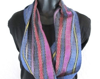 Silk Scarf | Lightweight Scarf | Slinky Summer Scarf | Blue Pale Grey Red Pink Yellow | Ladies Scarves | Handwoven Scarf | Colorful | SC50