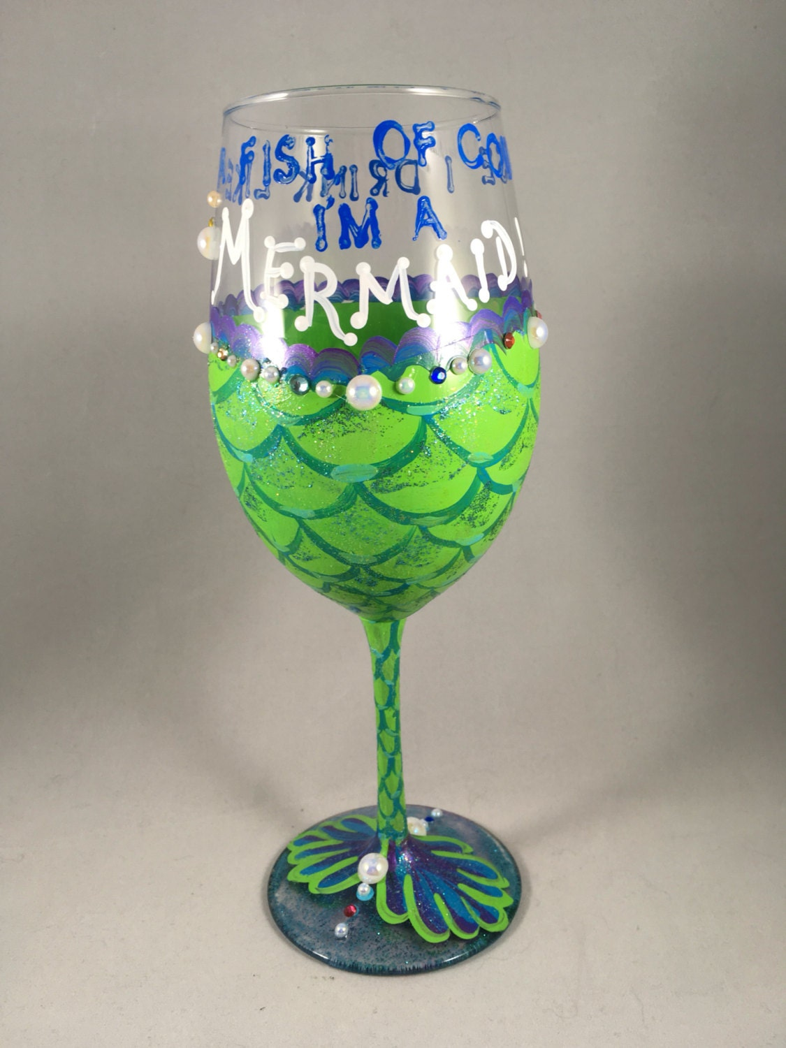 Mermaid wine glass in green and blue with faux pearls