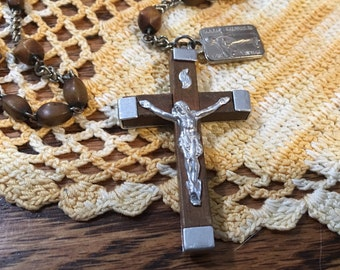 Vintage wood bead rosary with wood Crucifix, Saint medals, Made in France