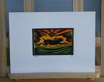 Hare Linocut Print, Hand Made, Hand Coloured, Unique, Lino Print