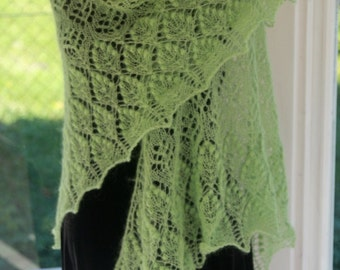 Large triangular luxurious light green mohair Lace Shawl with semi-precious gemstone Avanturine beads Cashmere MADE TO ORDER