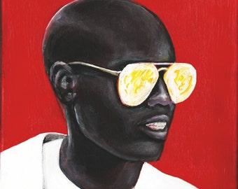 Stylish African-American Man Wearing Sunglasses - Urban Hip Hop Inspired Art - Urban Art - Wall and Home Decor -