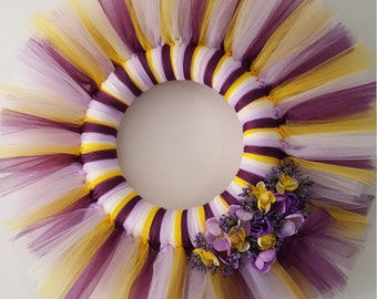 Spring Summer Purple and Yellow Flower Tulle Wreath
