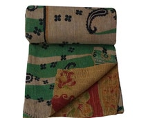 Twin Size Reversible Kantha Quilt Vintage Handmade Kantha Beach Throw