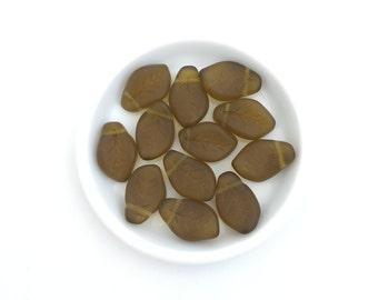 20 Matte Glass Leaf Dark Olivine, Czech Pressed Glass Bead, 9x15, Fall Leaf, Nature, Matte, 3902E