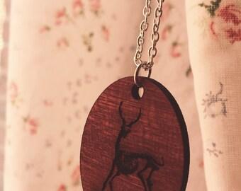 Deer Skeleton Wooden Laser Cut Necklace Pendant